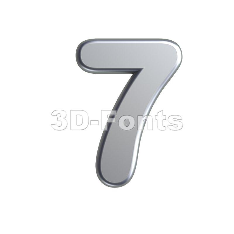 metal number 7 - 3d digit - 3d-fonts