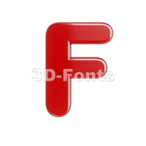 red letter F - Upper-case 3d font - 3d-fonts