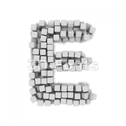 3d Capital character E covered in 3d cube - Upper-case 3d letter - 3d-fonts