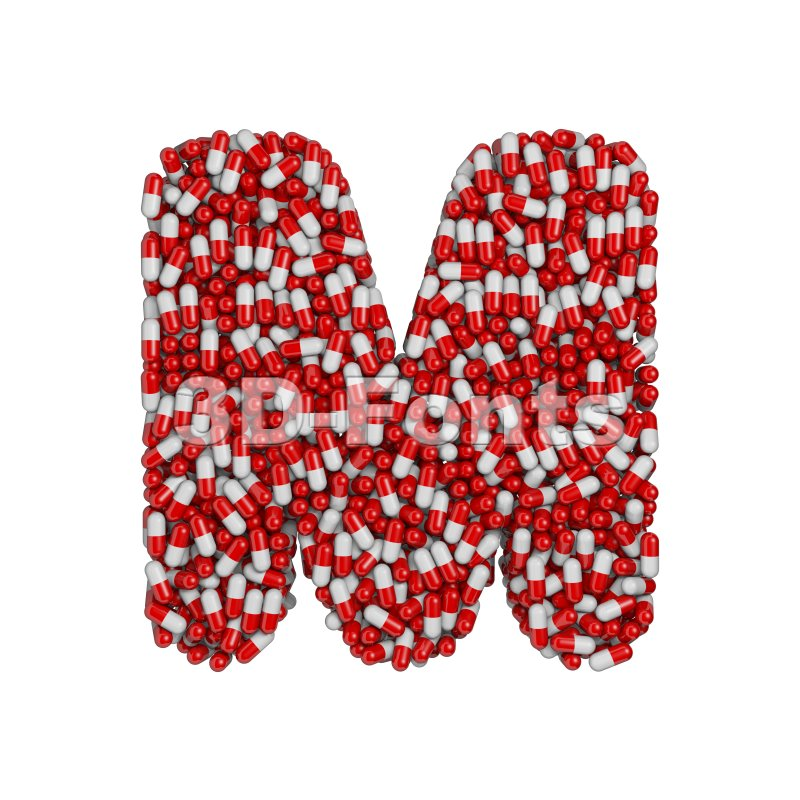 3d Capital character M covered in pharmaceutical pills - 3d-fonts