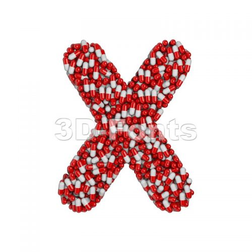 3d Upper-case character X covered in pharmaceutical pills - 3d-fonts