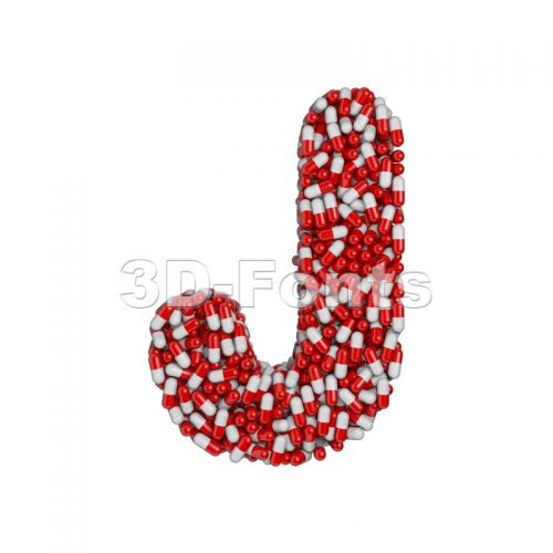 3d Uppercase font J covered in pharmacy capsule - 3d-fonts
