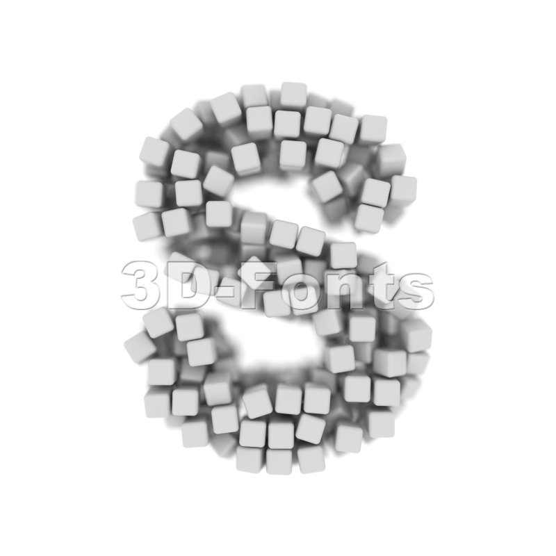 3d Uppercase font S covered in white 3d cube - Capital 3d letter - 3d-fonts