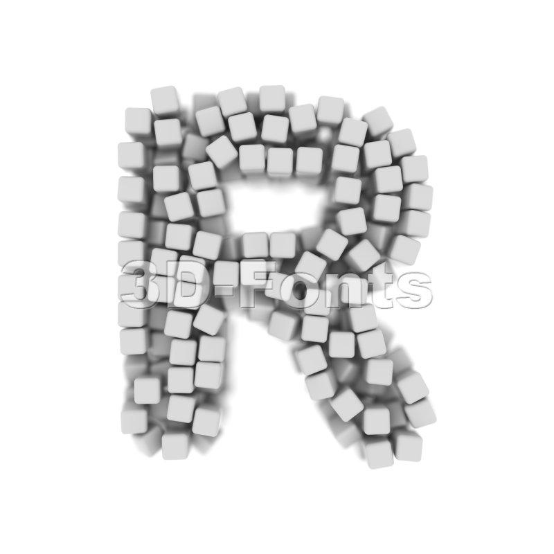 3d cube letter R - Uppercase 3d font - 3d-fonts