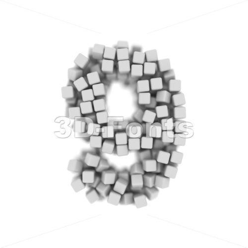 3d cubes number 9 - 3d digit - 3d-fonts