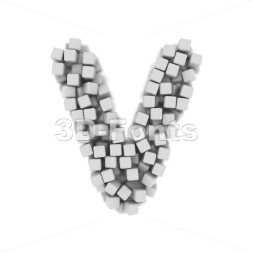 Capital cube letter V - Upper-case 3d character - 3d-fonts