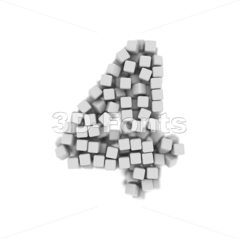 Digit 4 made of 3d cubes - 3d number - 3d-fonts
