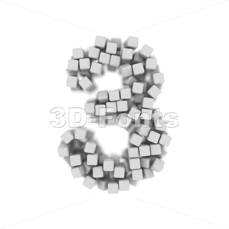 Number 3 covered in 3d cubes - 3d digit - 3d-fonts