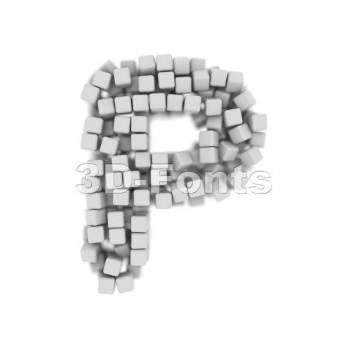 Upper-case 3d cube character P - Capital 3d font - 3d-fonts
