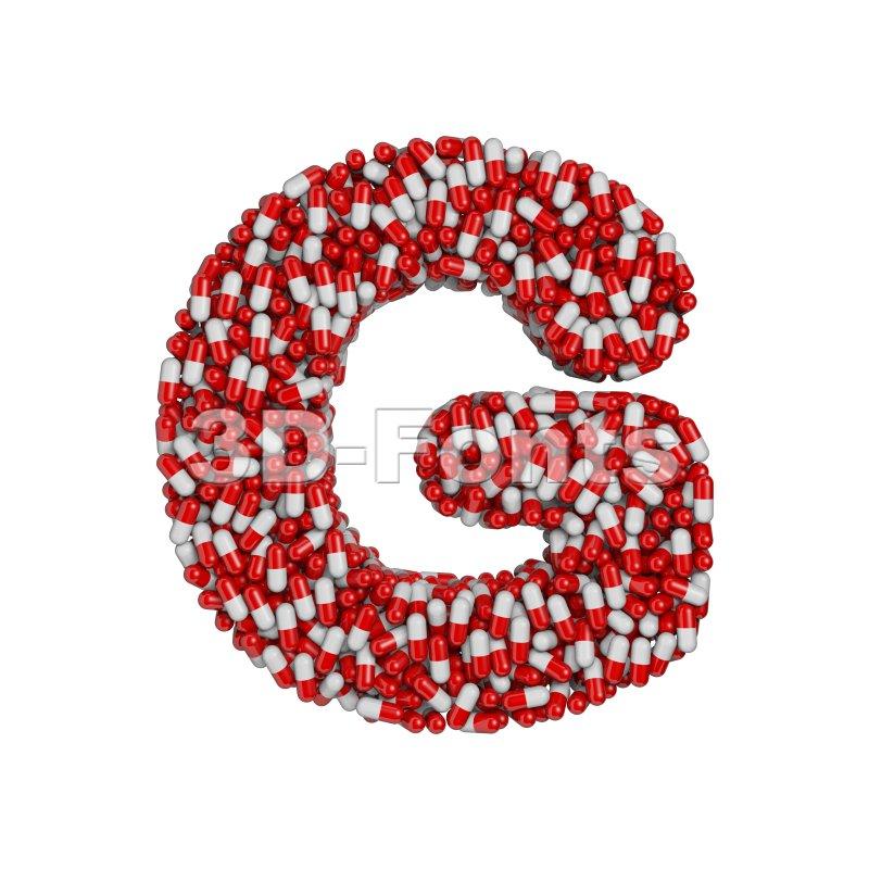 Upper-case pills character G - Capital 3d font - 3d-fonts