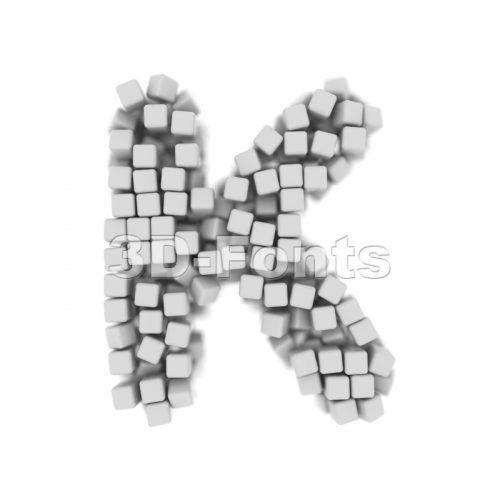 Uppercase cube letter K - Capital 3d font - 3d-fonts