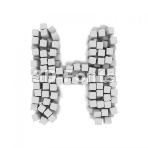 cube 3d letter H - Upper-case 3d character - 3d-fonts