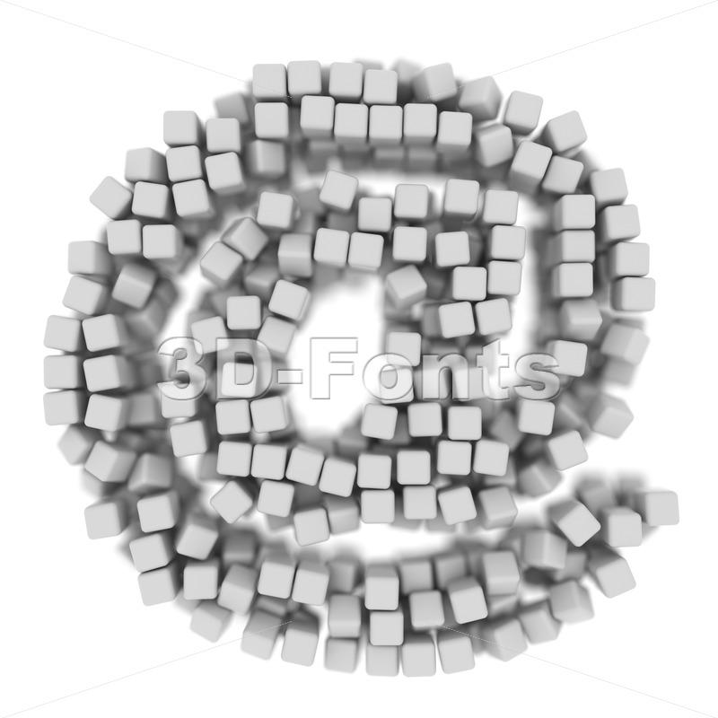 cube at-sign - 3d arobase symbol - 3d-fonts