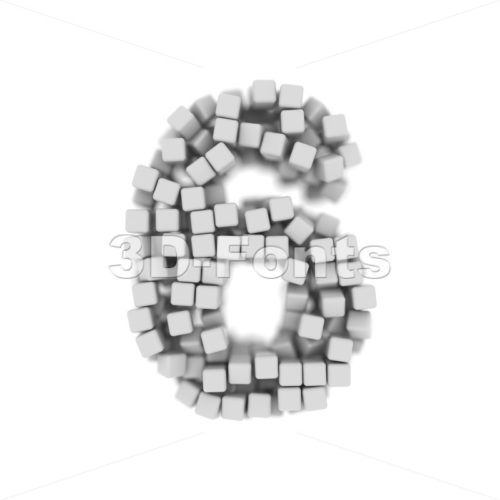 cube digit 6 - 3d number - 3d-fonts