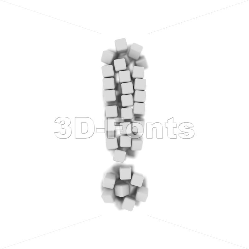 cube exclamation point - 3d symbol - 3d-fonts