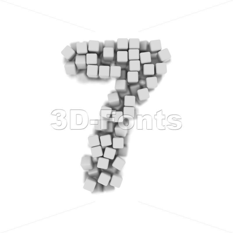 cube number 7 - 3d digit - 3d-fonts