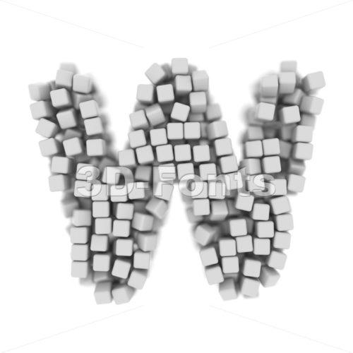 futuristic font W - Capital 3d letter - 3d-fonts