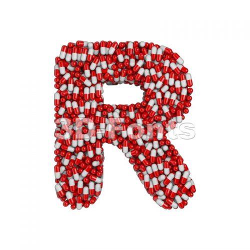 pharmaceutical letter R - Uppercase 3d font - 3d-fonts