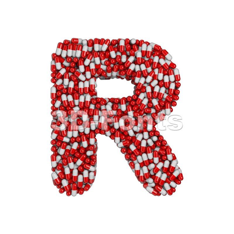 pharmaceutical letter R - Uppercase 3d font