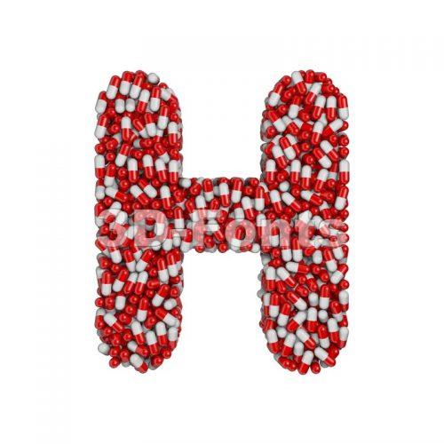 pills 3d letter H - Upper-case 3d character - 3d-fonts