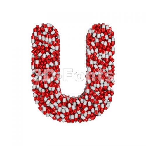 pills 3d letter U - Capital 3d font - 3d-fonts