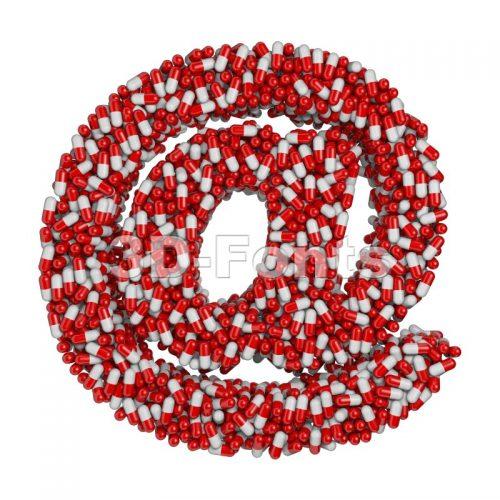 pills at-sign - 3d arobase symbol - 3d-fonts