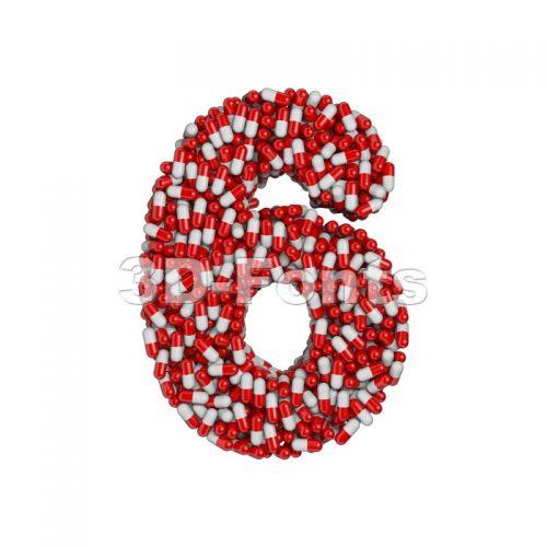 pills digit 6 - 3d number - 3d-fonts