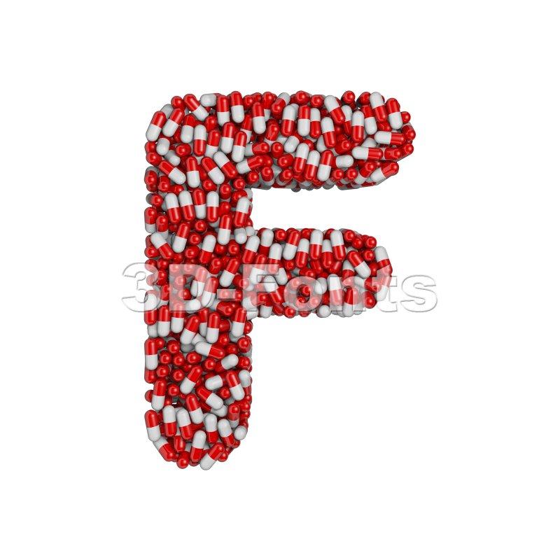 pills letter F - Upper-case 3d font - 3d-fonts