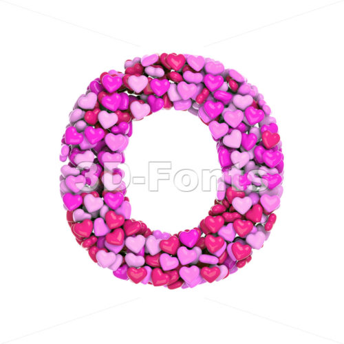 3d Upper-case letter O covered in Valentine texture - 3d-fonts
