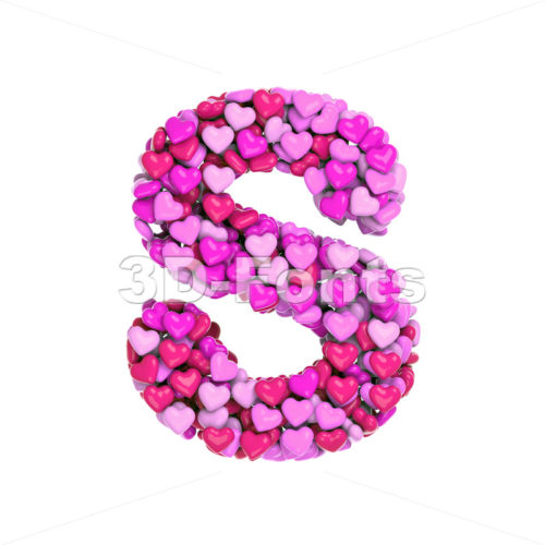 Pink font S - Uppercase 3d letter - 3d-fonts