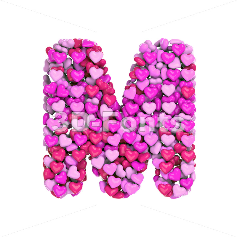 Pink letter M made with hearts - Capital 3d character - 3d-fonts