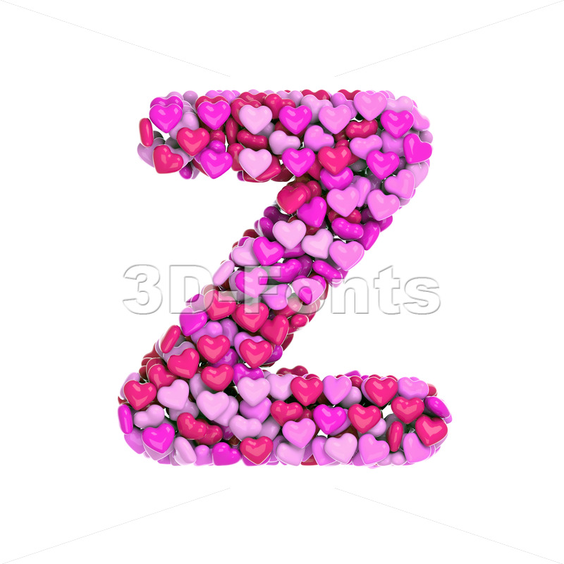 Romantic letter Z - Upper-case 3d font - 3d-fonts