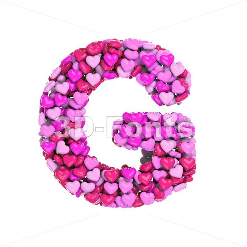 Upper-case Valentine character G - Capital 3d font - 3d-fonts