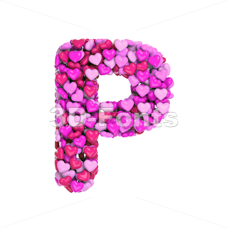 Upper-case love character P - Capital 3d font - 3d-fonts