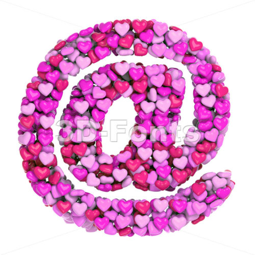 Valentine at-sign - 3d arobase symbol - 3d-fonts