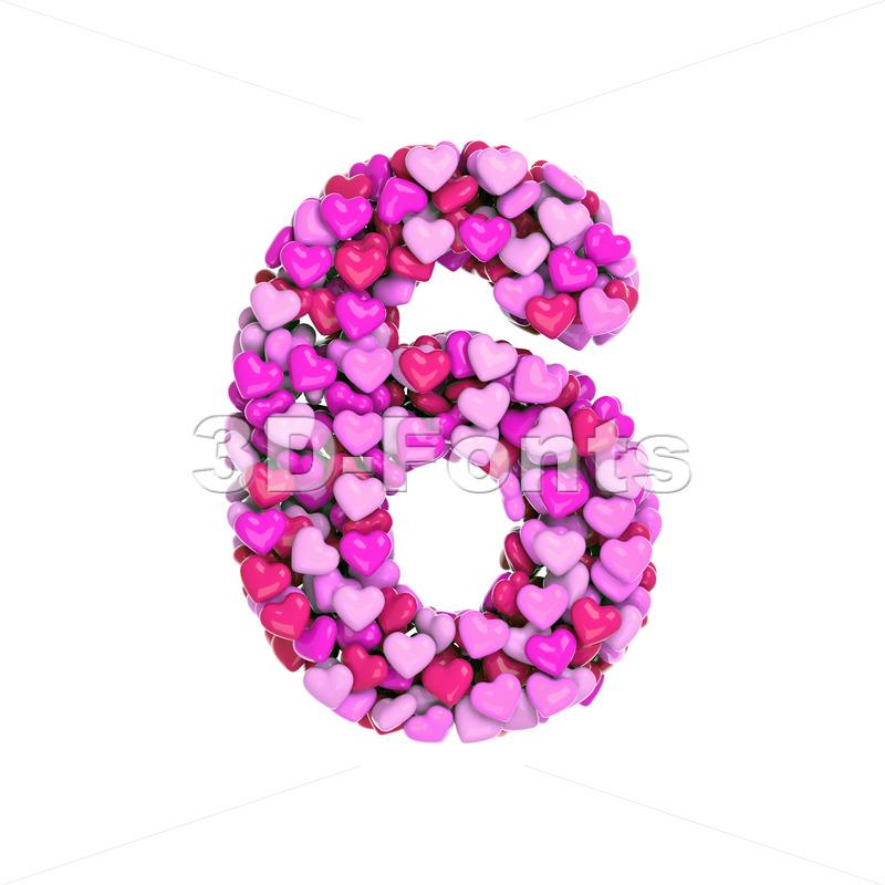 Valentine digit 6 - 3d number - 3d-fonts