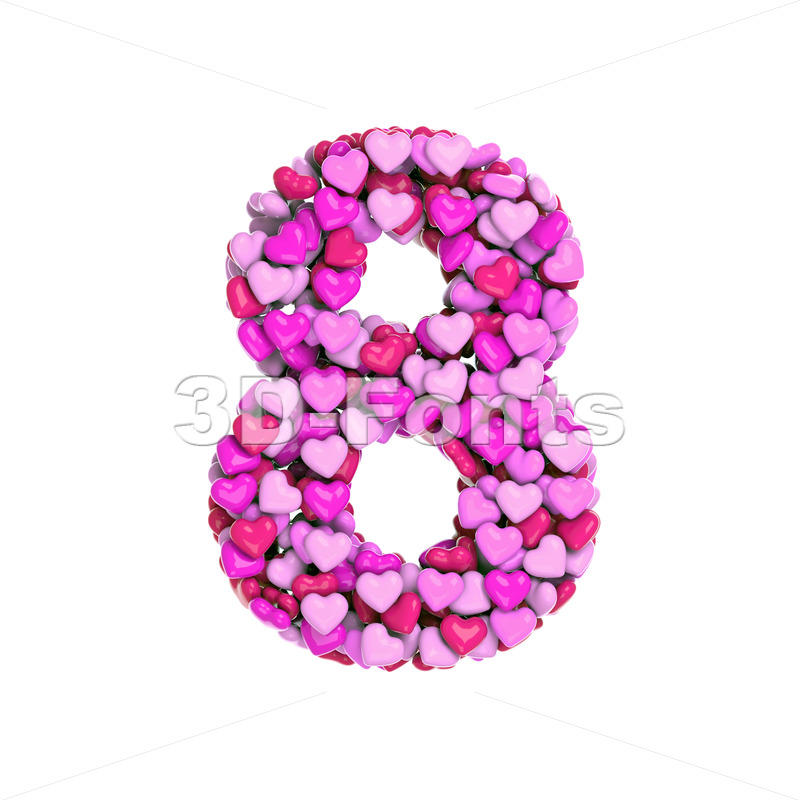 Valentine digit 8 - 3d number - 3d-fonts