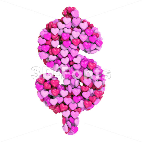 Valentine dollar currency sign - 3d money symbol - 3d-fonts