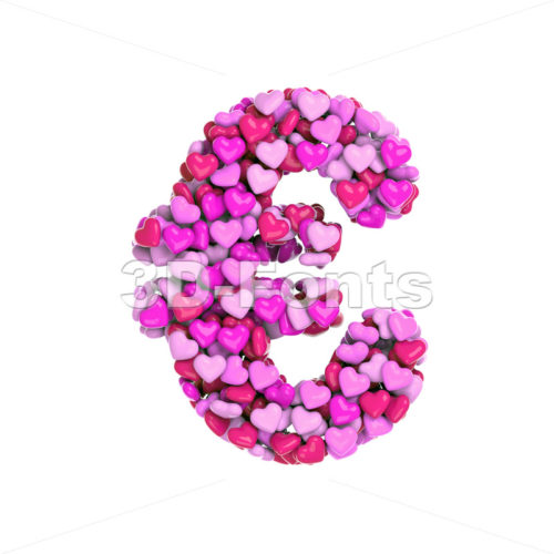 Valentine euro currency sign - 3d business symbol - 3d-fonts
