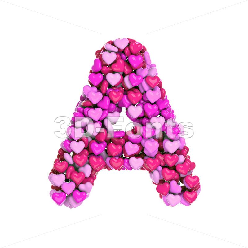 Valentine letter A - Capital 3d character - 3d-fonts