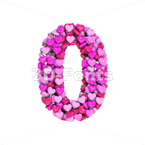 Valentine number 0 - 3d digit - 3d-fonts