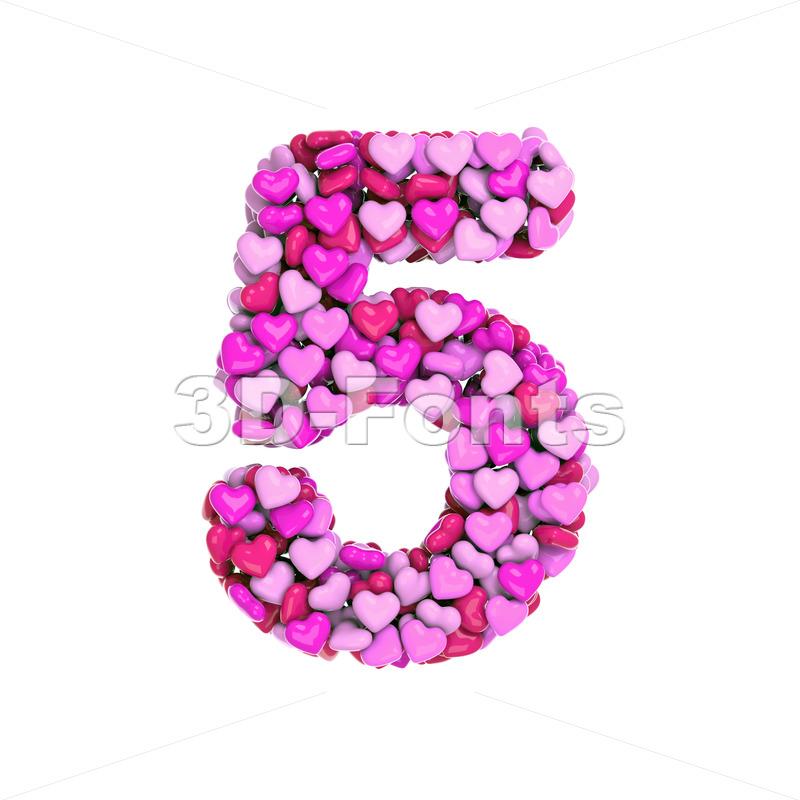 Valentine number 5 - 3d digit - 3d-fonts