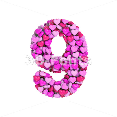 Valentine number 9 - 3d digit - 3d-fonts