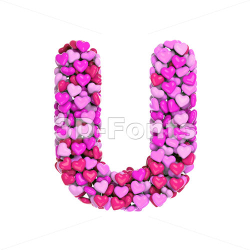Valentines day font U - Capital 3d letter - 3d-fonts