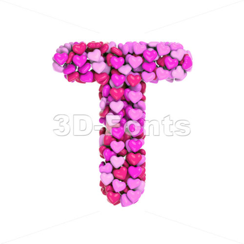 girly character T - Uppercase 3d letter - 3d-fonts