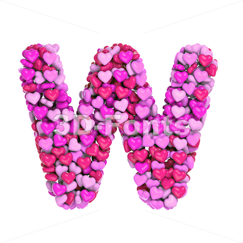 girly font W - Capital 3d letter - 3d-fonts
