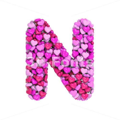 love font N - Capital 3d letter - 3d-fonts