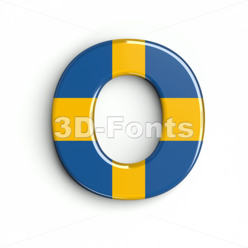 3d Upper-case letter O covered in sweden texture - 3d-fonts