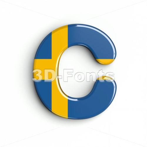 3d sweden font C - Capital 3d letter - 3d-fonts