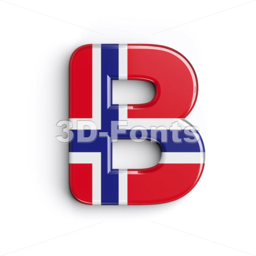 Capital Norway national flag letter B - Upper-case 3d font - 3d-fonts